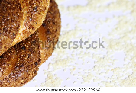 Turkish bagels with white sesame background  - stock photo