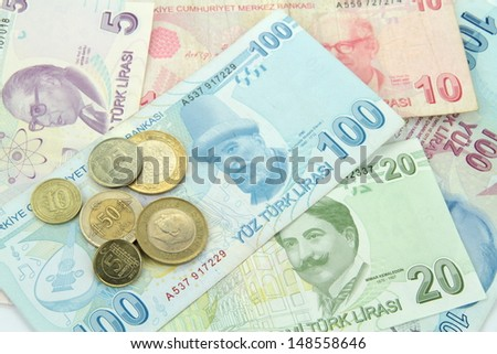 Turkish banknotes and coins - stock photo