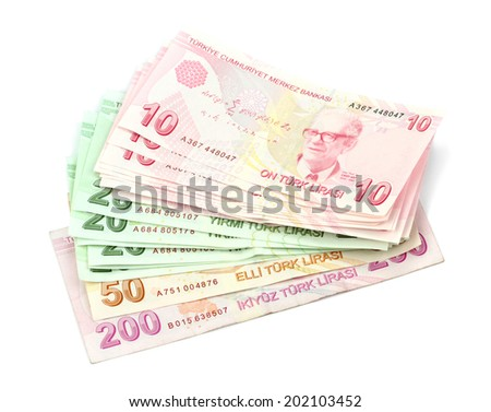 Turkish banknotes. Turkish Lira ( TL ) isolated on white background. - stock photo