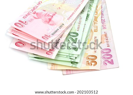 Turkish banknotes. Turkish Lira ( TL ) on white background. - stock photo