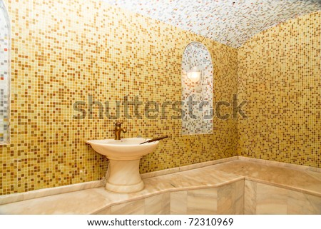 Turkish bath with ceramic tile in roman style - stock photo