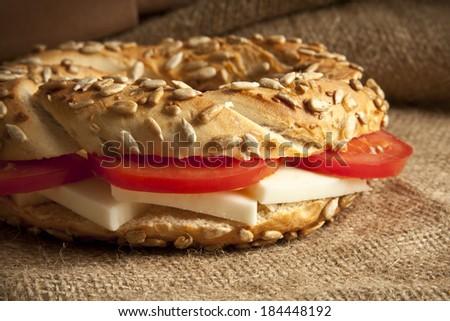 Turkish breakfast  simit, cheese, cherry tomato bakery - stock photo