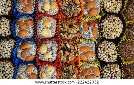Turkish candies and sweets, tasty background, texture   - stock photo