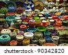 Turkish ceramics on the Istanbul Grand Bazaar. - stock photo