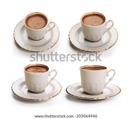 Turkish coffee cup set with clipping path - stock photo