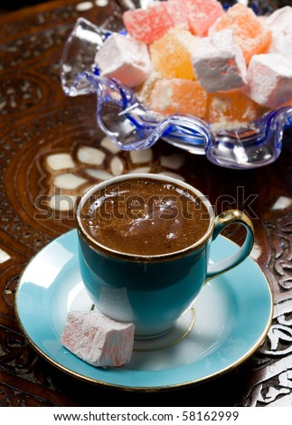 turkish coffee with turkish delight - stock photo