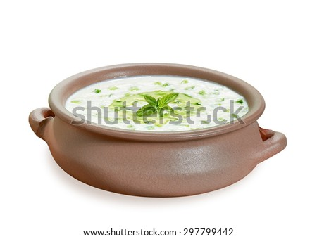 Turkish cuisine  tzatziki or cacik, cucumber and yogurt salad with mint leaves including clipping path