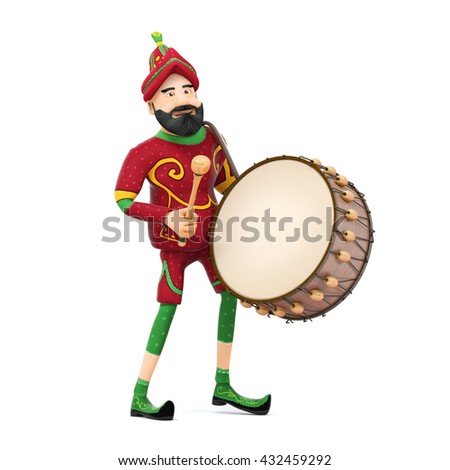Turkish Culture karagoz playing drum-ramadan drummer 3d illustration