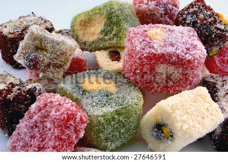 Turkish delight at a white background