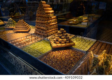 Turkish delight, baklava, Showcases - stock photo