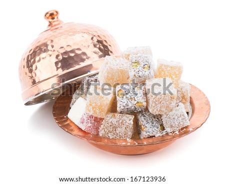 Turkish Delight in Copper Bowl     - stock photo