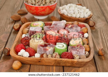 Turkish delight on a brown background - stock photo