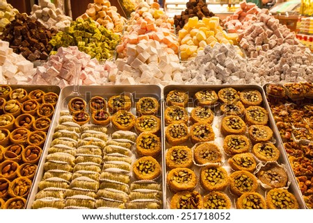 Turkish delight sweets at the Spice Market or Grand Bazaar in Istanbul Turkey - stock photo