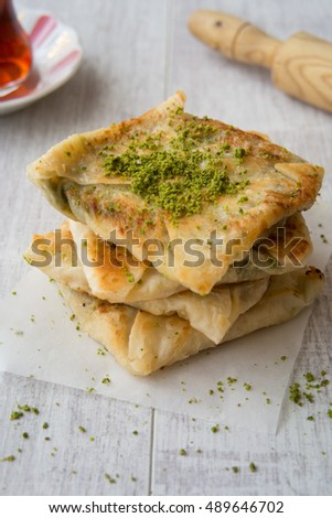 Turkish Dessert Katmer with Pistachio Powder and Tea