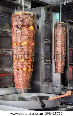 Turkish Doner Kebab with Vegetable in a Bodrum restaurant, Turkey  - stock photo