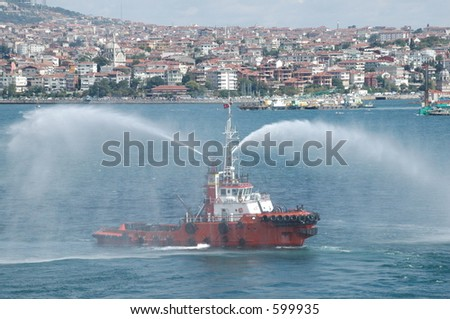 Turkish fire-fighting boat in Istanbul - stock photo