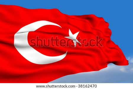 Turkish Flag - stock photo