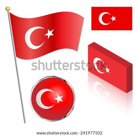 Turkish flag on a pole, badge and isometric designs illustration.  - stock photo
