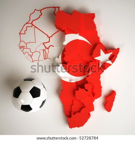 Turkish flag on map of Africa with national borders