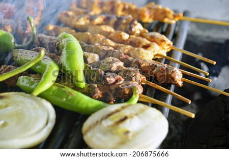 Turkish food, BBQ, grill, photography - stock photo