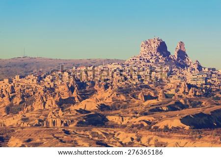 Turkish fortress Uchisar, landscape in Cappadocia, Turkey - stock photo