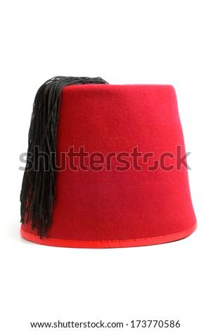 Turkish hat (fez) on white background - stock photo