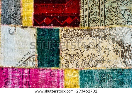 Turkish kilim patchwork as a background - stock photo