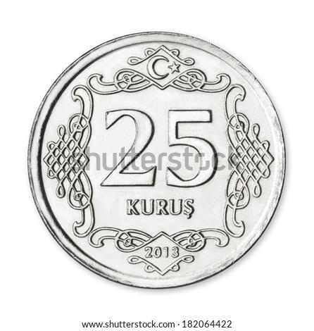 Turkish 25 Kurus / Yirmibes Kurus - stock photo