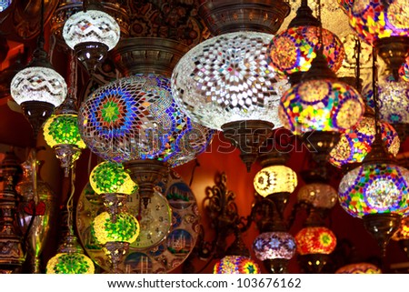 Turkish lamps for sale in the Grand Bazaar, Istanbul, Turkey - stock photo