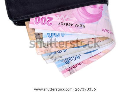 Turkish lira banknotes in a wallet isolated