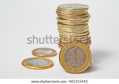Turkish lira, coins - stock photo