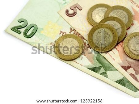 Turkish lira,  coins and banknotes - stock photo