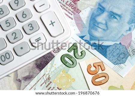 Turkish liras and calculator - stock photo