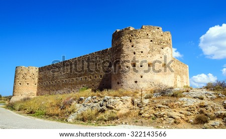 Turkish medieval fortress at Ancient Aptera in Crete, Greece - stock photo
