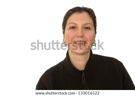 Turkish middle aged girl looking at camera with satisfied and trusty look. Isolated on White. - stock photo