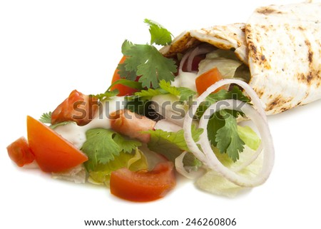 Turkish pizza with vegetables and garlic sauce - stock photo