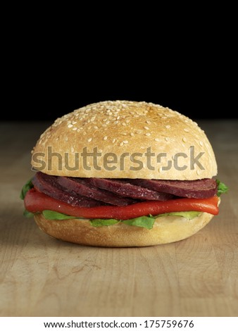 turkish sausage sandwich - stock photo