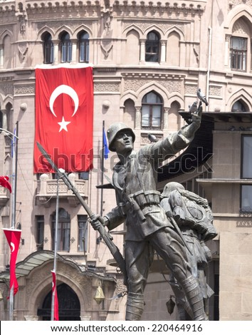Turkish Soldier statue, Ulus, city center of Ankara Turkey - stock photo