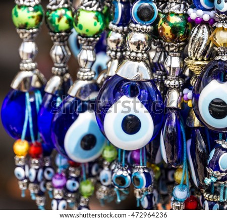 Turkish souvenirs. Traditional blue evil eyes