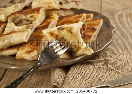 Turkish special pide with mushroom