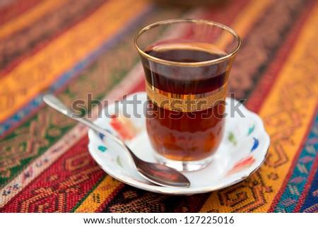 Turkish tea in a glass beaker - stock photo