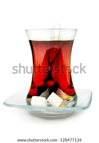 Turkish tea in traditional glass. - stock photo