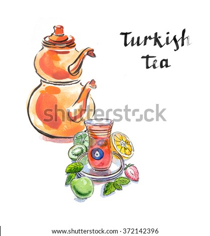 Turkish tea with turkish kettle, watercolor, hand drawn, Illustration