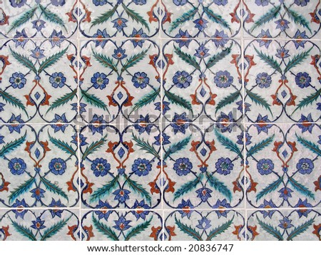 Turkish tiles in Topkapi palace, Istanbul, Turkey - stock photo