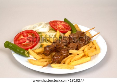 Turkish traditional food with french fries - stock photo