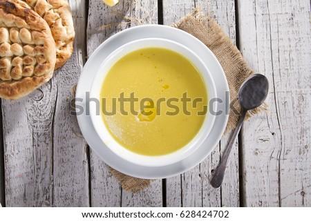 Turkish Traditional Lentil Soup With Bread On White Rustic Wooden Background Mercimek Ezogelin