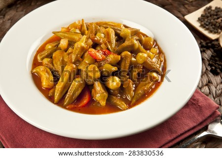 Turkish traditional ramadan food Okra dish with concept background - stock photo