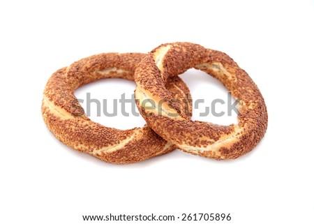 Turkish traditional sesame bagels. - Simit - - stock photo