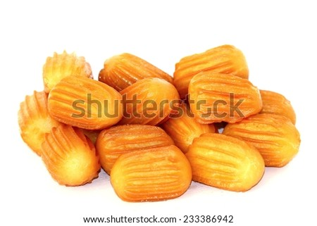 Turkish tulumba sweet or Turkish dougnhuts isolated on white background. - stock photo