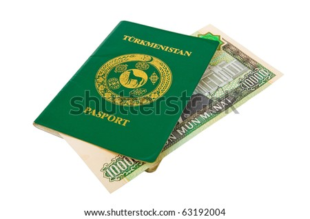Turkmenistan passport and money on white background